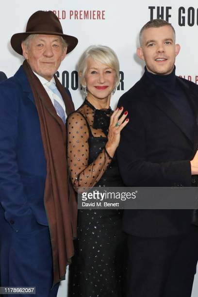 Sir Ian McKellen Dame Helen Mirren and Russell Tovey attend the World Premiere of The Good Liar at the BFI Southbank on October 28 2019 in London...