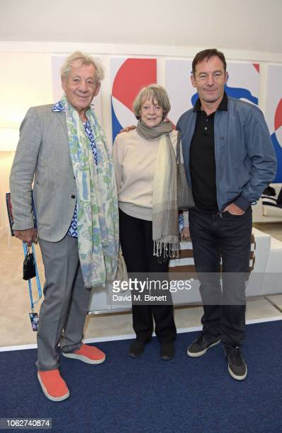 Sir Ian McKellen Dame Maggie Smith and Jason Isaacs pose in the Lacoste VIP Lounge during SemiFinal Day of the 2018 Nitto ATP World Tour Tennis...