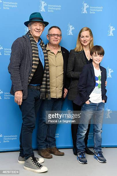 Sir Ian McKellen director Bill Condon Laura Linney and Milo Parker attend the 'Mr Holmes' photocall during the 65th Berlinale International Film...
