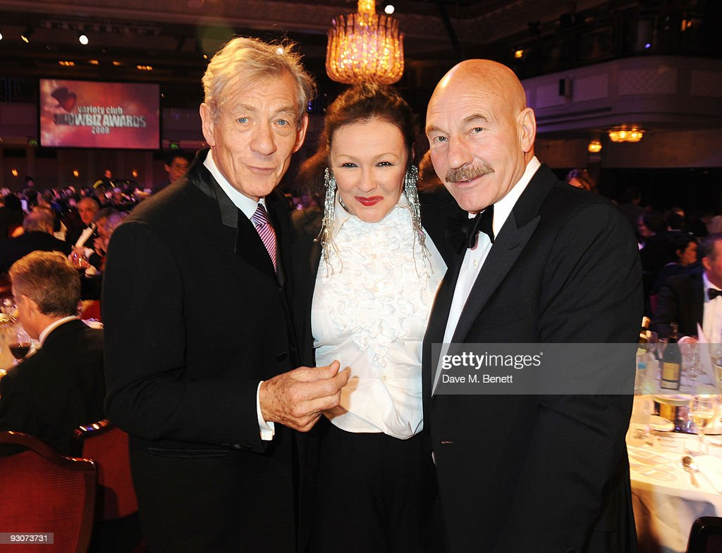 Sir Ian McKellen, Frances Barber and Patrick Stewart attend the Variety Club Showbiz Awards, at the Grosvenor House, on November 15, 2009 in London, England.