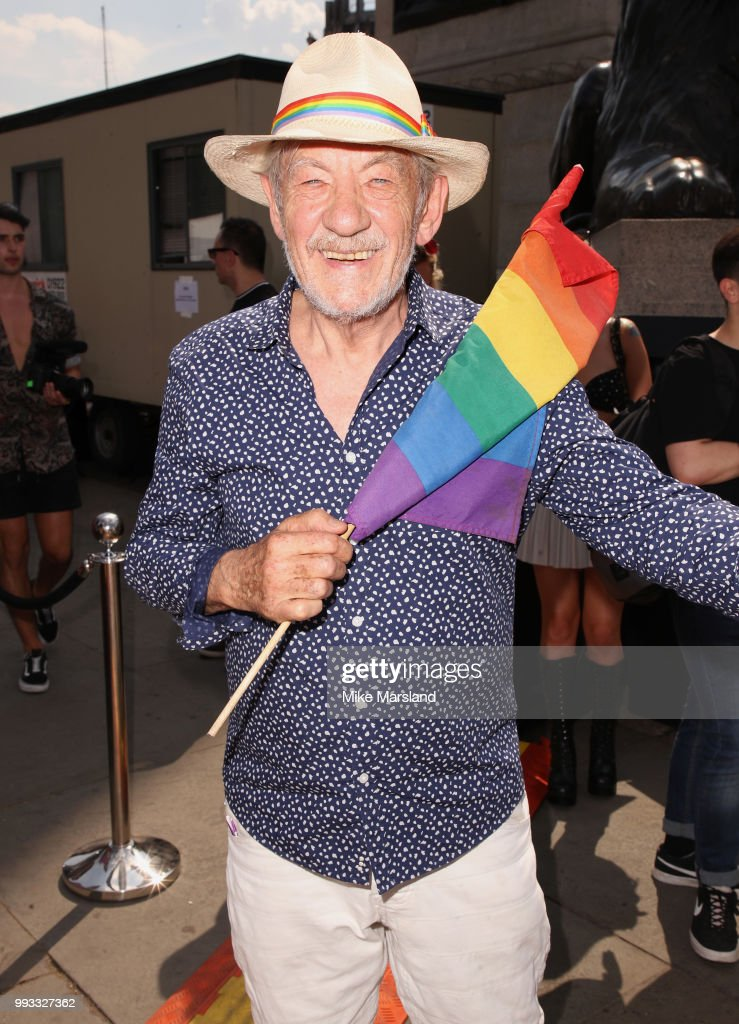 Sir Ian Mckellen in Trafalgar Square during Pride In London on July 7, 2018 in London, England. It is estimated over 1 million people will take to the streets and approximately 30,000 people and 472 organisations will join the annual parade, which is one of the world's biggest LGBT+ celebrations.