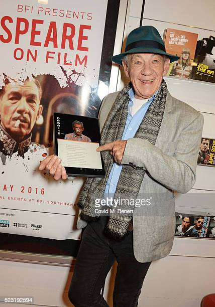 Sir Ian McKellen joins forces with the BFI to launch the new Heuristic Shakespeare App online at the BFI Southbank on April 22 2016 in London England