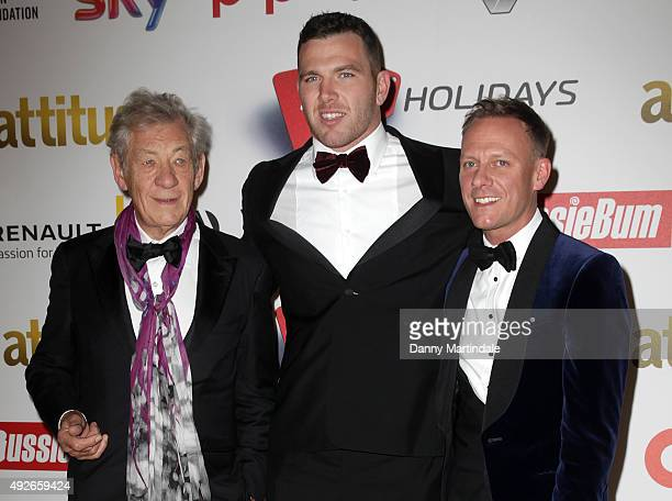 Sir Ian McKellen Keegan Hirst and Antony Cotton attends the Attitude Magazine Awards at Banqueting House on October 14 2015 in London England
