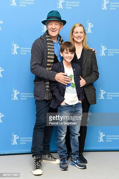 Sir Ian McKellen Milo Parker and Laura Linney attend the 'Mr Holmes' photocall during the 65th Berlinale International Film Festival at Grand Hyatt...