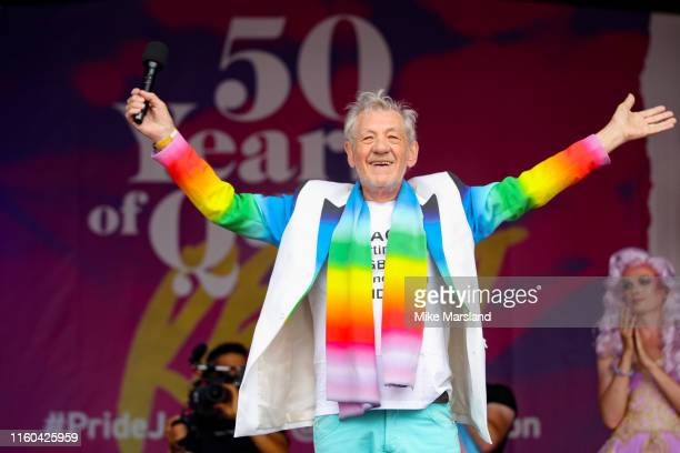 Sir Ian McKellen on stage during Pride in London 2019 at Trafalgar Square on July 06 2019 in London England