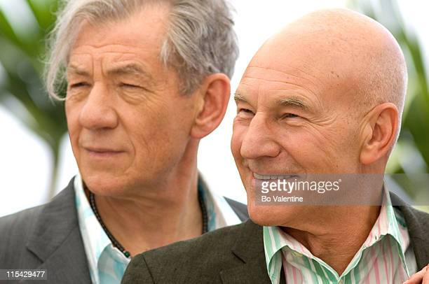 Sir Ian McKellen Patrick Stewart during 2006 Cannes Film Festival 'XMen 3 The Last Stand' Photocall at Palais des Festival Terrace in Cannes France