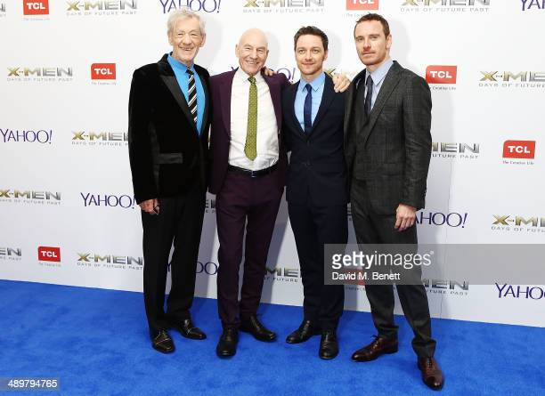 Sir Ian McKellen Patrick Stewart James McAvoy and Michael Fassbender attend the UK Premiere of 'XMen Days of Future Past' at Odeon Leicester Square...