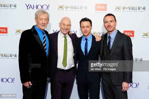 Sir Ian McKellen, Patrick Stewart, James McAvoy and Michael Fassbender arriving at the X-Men Days of Future Past UK premieree, at The West End Odeon,...
