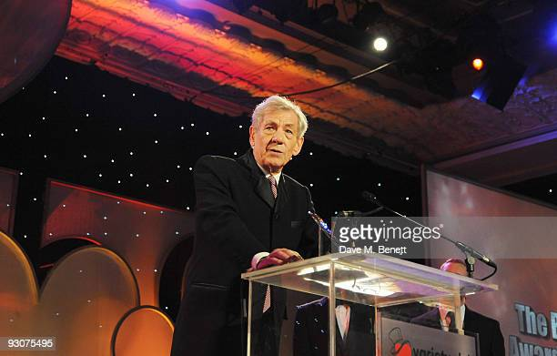 Sir Ian McKellen receives the The Bernard Delfont Award for Outstanding Contribution to Showbusiness during the Variety Club Showbiz Awards at the...