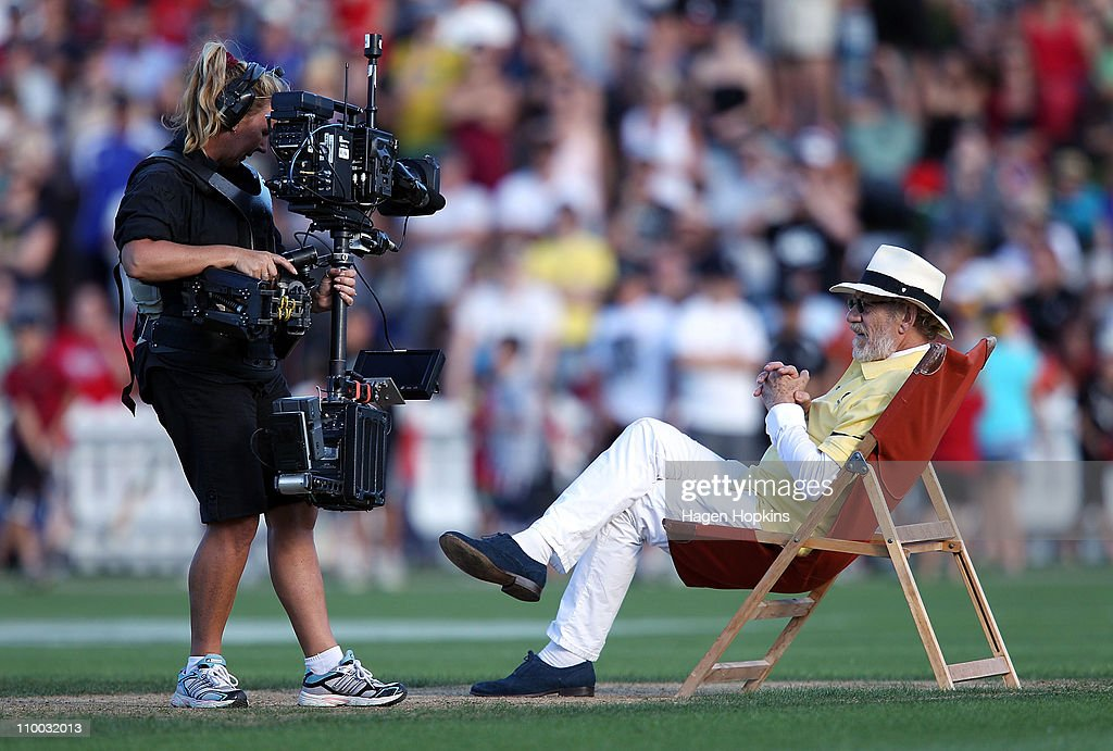 Sir Ian McKellen relaxes on the pitch during the Christchurch Earthquake Relief Charity Twenty20 match at Basin Reserve on March 13, 2011 in Wellington, New Zealand.