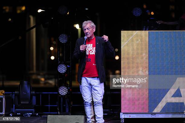 Sir Ian McKellen speaks at New York City Pride 2015 Rally at Pier 26 on June 26 2015 in New York City