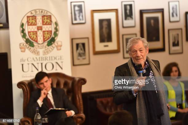 Sir Ian McKellen speaks at The Cambridge Union on November 15 2017 in Cambridge Cambridgeshire