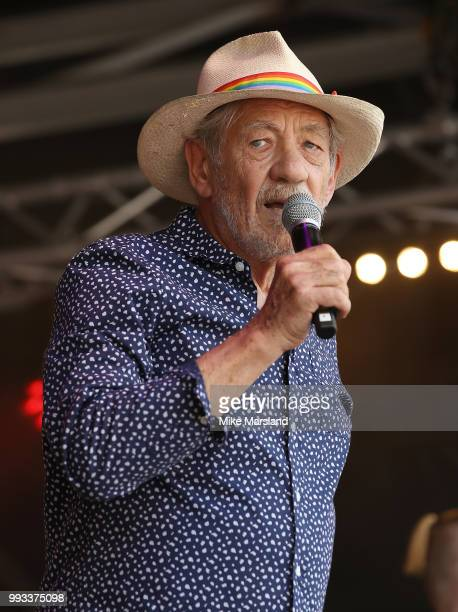 Sir Ian Mckellen speaks on the Trafalgar Square Stage during Pride In London on July 7 2018 in London England It is estimated over 1 million people...