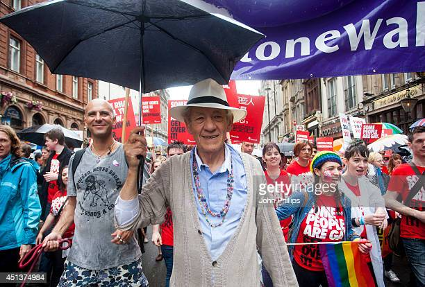 Sir Ian McKellen takes part in the annual Pride In London parade on June 28 2014 in London England