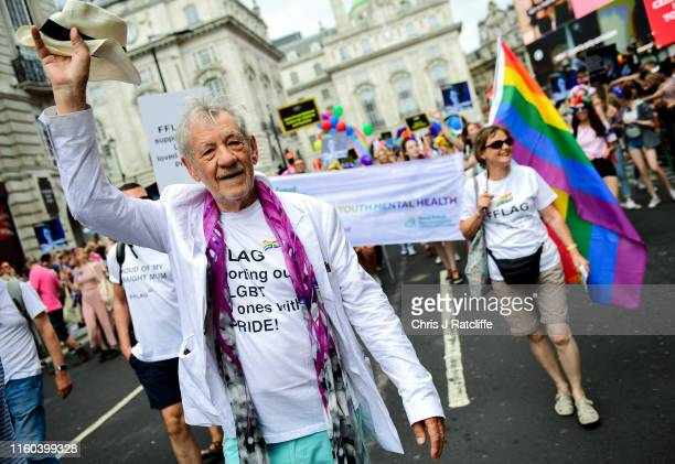 Sir Ian McKellen walking through Piccadilly Circus during Pride in London 2019 on July 06 2019 in London England