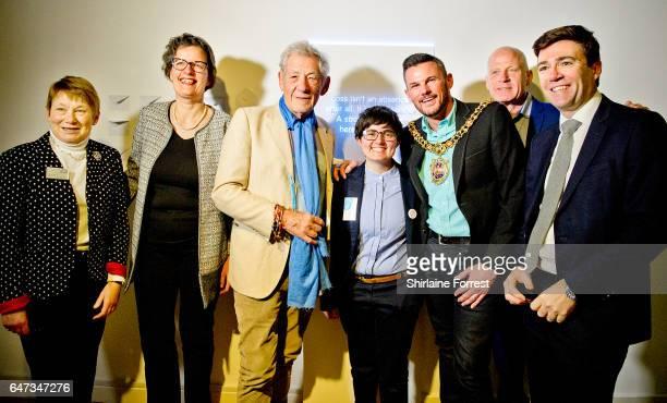Sir Ian McKellen with Michael Cashman Andy Burnham MP Lu Tolu Tiffany Hunt and Mayor Carl AustinBehan open the 'Never Going Underground' exhibition...
