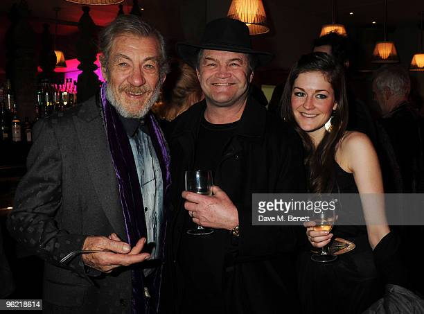 Sir Ian McKellen with Micky Dolenz and his daughter Georgia attend the afterparty following the cast change of 'Waiting For Godot' at the Haymarket...