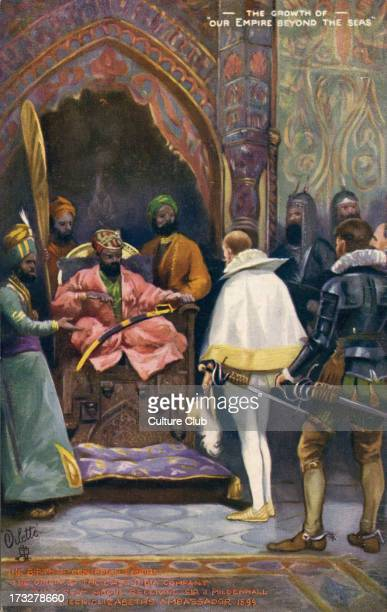 Sir J Mildenhall received by Akbar the Great Early 20th century illustration imagining the first meeting of the East India Trading Company with the...