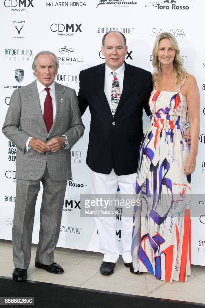 Sir Jackie Stewart, Albert II, Prince of Monaco and Sonia Irvine attend the Amber Lounge Fashion Monaco 2017 at Le Meridien Beach Plaza Hotelon May...