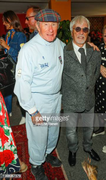 Sir Jackie Stewart and Bernie Ecclestone attend day two of the Goodwood Revival 2019 at Goodwood on September 14 2019 in Chichester England