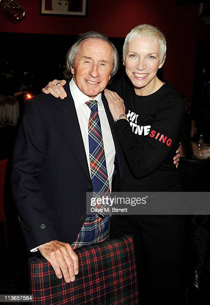 Sir Jackie Stewart and Great Scot Award winner Annie Lennox attend the Johnny Walker Blue Label Great Scot Awards 2011 at Boisdale of Canary Wharf on...