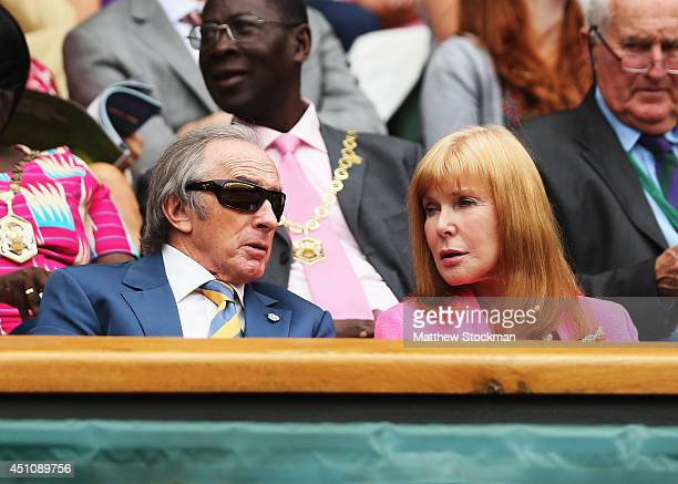 Sir Jackie Stewart and his wife Helen Stewart attend day one of the Wimbledon Lawn Tennis Championships at the All England Lawn Tennis and Croquet...
