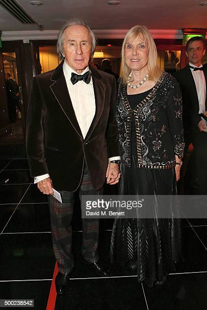 Sir Jackie Stewart and Lady Helen Stewart attend the Autosport Awards drinks reception at The Grosvenor House Hotel on December 6 2015 in London...
