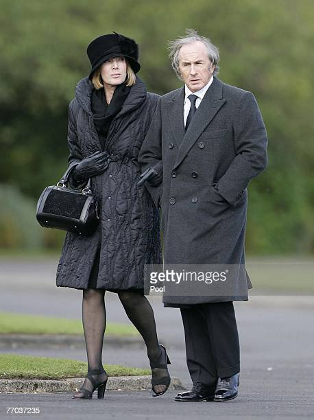 Sir Jackie Stewart and wife Helen arrive for the funeral of Colin McRae and son Johnny at East Chapel, Daldowie Crematorium on September 26, 2007 in...