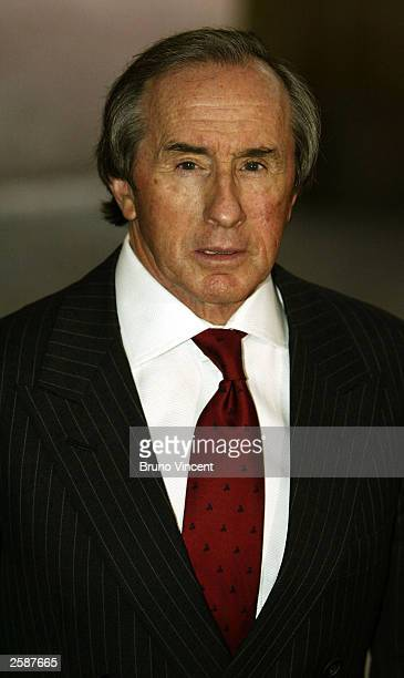 Sir Jackie Stewart arrives at the Pioneers to the life of the nation reception at Buckingham Palace October 13 2003 in London England