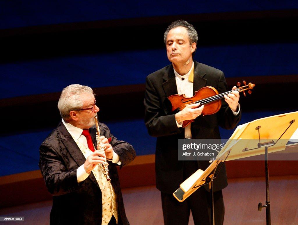 Sir James Galway, left, and Emerson String Quartet's Eugene