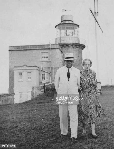 Sir James PurvesStewart and Lady PurvesStewart walking the cliffs in front of Belle Tout lighthouse their home on Beachy Head East Sussex 11th August...