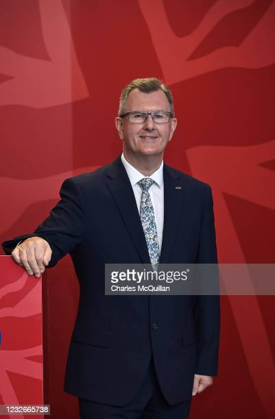 Sir Jeffrey Donaldson poses for photographers at DUP headquarters as he announces his bid to be the next Democratic Unionist Party leader on May 3,...