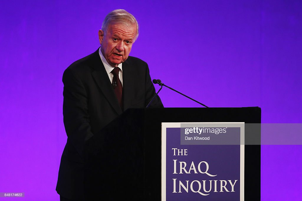 Sir John Chilcot presents the Iraq Inquiry Report at the Queen Elizabeth II Centre in Westminster on July 6, 2016 in London, England. The Iraq Inquiry Report into the UK government's involvement in the 2003 Iraq War under the leadership of Tony Blair is published today. The inquiry, which concluded in February 2011, was announced by then Prime Minister Gordon Brown in 2009 and is published more than seven years later.