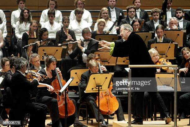 Sir John Eliot Gardiner conducting his period-instrument orchestra, Orchestre Revolutionnaire et Romantique and Monteverdi Choir at Renee and Henry...