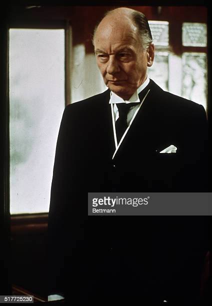 Sir John Gielgud British actor in a scene from the 1974 film Murder on the Orient Express Color slide