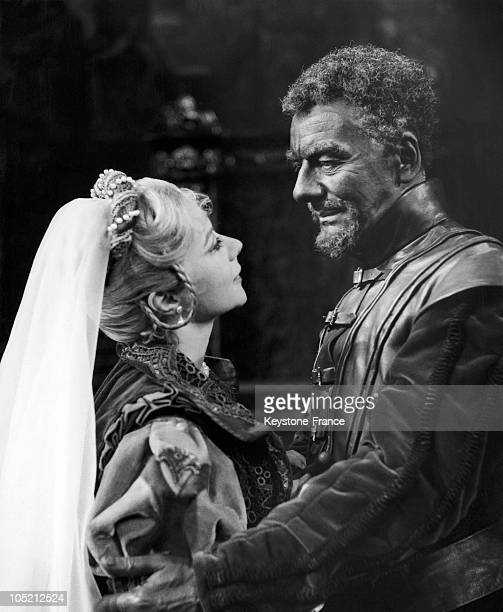 Sir John Gielgud Playing The Role Of Othello And Dorothy Tutin As Desdemona At The Royal Shakespeare Theatre In StratfordUponAvon England