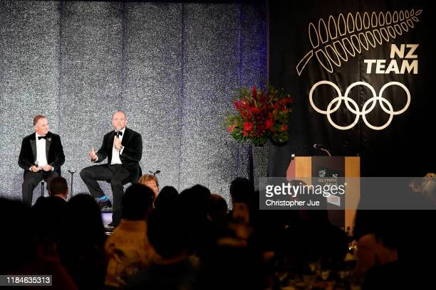 Sir John Key and Mike Tindall attend the New Zealand Olympics Committee Gala Dinner on October 31, 2019 in Tokyo, Japan.