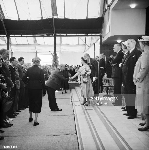 Sir John Laing being presented to Her Majesty Queen Elizabeth, the Queen Mother, at the ceremonial opening of Coryton Oil Refinery. Coryton Oil...