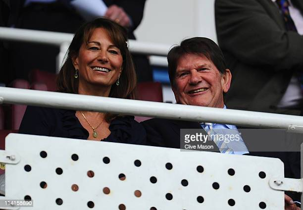 Sir John Madejski chairman of Reading FC with his guest Carole Middleton chat during the npower Championship Play Off Semi Final First Leg match...