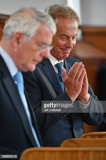 Sir John Major and Tony Blair make a joint EU appeal on June 9 2016 in Derry Northern Ireland Former British Prime Ministers Sir John Major and Tony...