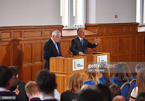 Sir John Major and Tony Blair share a platform as they make a joint EU appeal on June 9 2016 in Derry Northern Ireland Former British Prime Ministers...