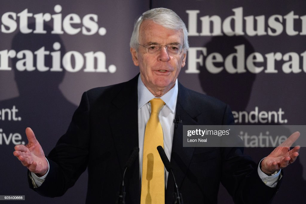 Sir John Major gives a speech on Brexit at Somerset House on February 28, 2018 in London, England. The former Conservative Prime Minister is set to issue a warning on the impact of lengthy negotiations with EU chiefs, saying it could halt Britain's economic growth.