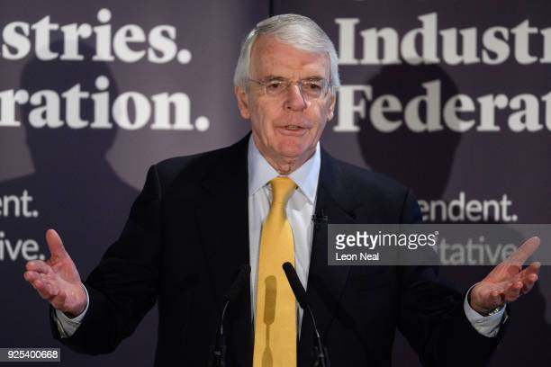 Sir John Major gives a speech on Brexit at Somerset House on February 28, 2018 in London, England. The former Conservative Prime Minister is set to...