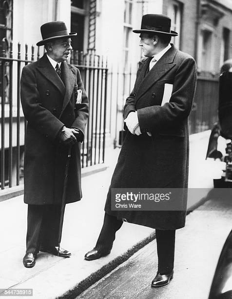 Sir John Reith and Sir James Edmondson in conversation following a Cabinet Meeting outside 10 Downing Street London April 4th 1940