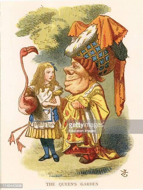 Sir John Tenniel's illustration of Alice in in the Queen's garden with a flamingo Alice's Adventures in Wonderland 1865