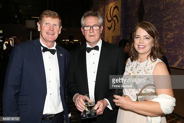 Sir John Walker with NZOC President Mike Stanley and Helen Walker at the Prime Minister's Olympic Gala Dinner at Sky City on June 29 2016 in Auckland...