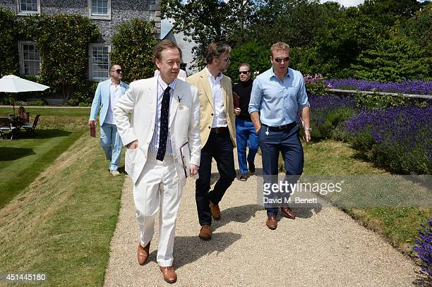 Sir Jonathan Ive Geordie Greig Marcus Wareing Viscount David Linley and Sir Chris Hoy attend the Cartier Style Luxury Lunch at the Goodwood Festival...