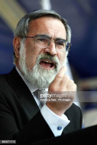 Sir Jonathan Sacks, Chief Rabbi of the United Hebrew Congregations of the Commonwealth, speaks during an Israel Solidarity Rally at JFS school in...