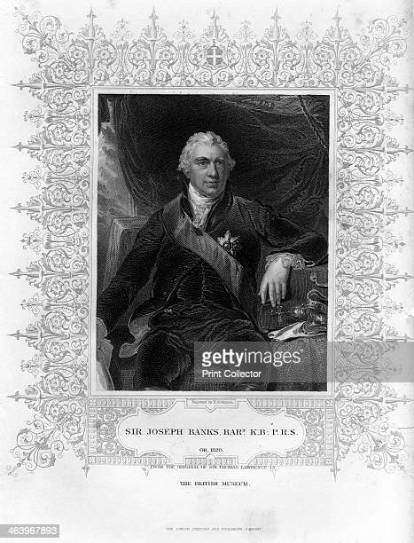 Sir Joseph Banks English naturalist botanist and science patron 19th century Banks took part in Cook's first great voyage and around 80 species bear...
