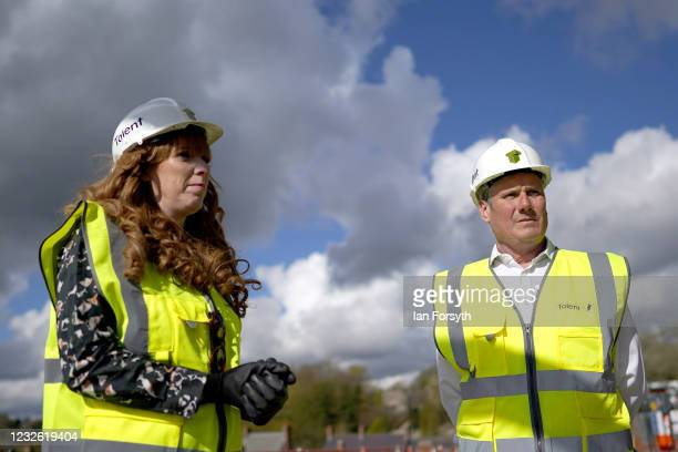 Sir Keir Starmer, Labour Party leader and Angela Rayner, Deputy Leader and Chair of the Labour Party , visit a building development project on the...